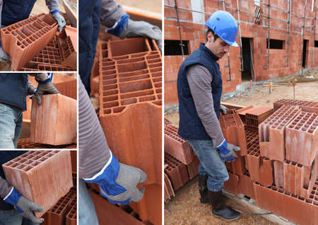 shots of bricklayer at work in construction site photo