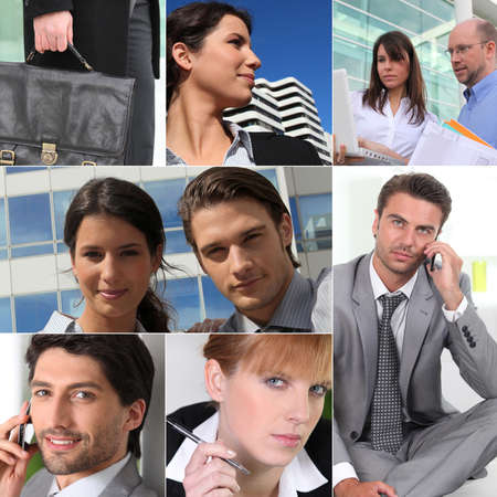 A collage of business professionals at work photo
