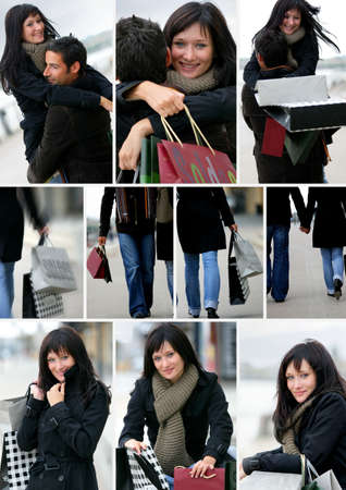 Montage of a couple shopping photo