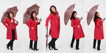 Montage of fashionable woman with umbrella photo