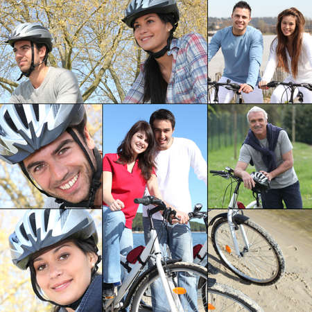 trailway: Collage of people riding their bikes Stock Photo