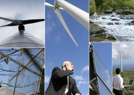windfarm: Montage of wind-farm Stock Photo