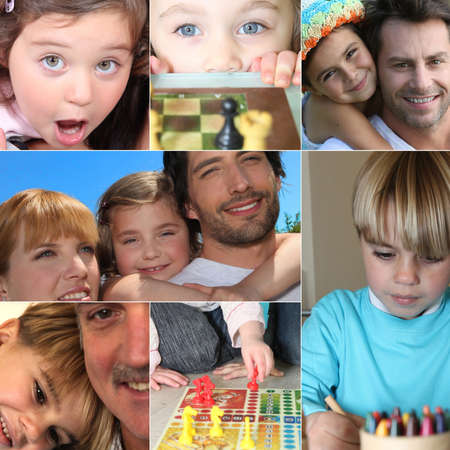 quality time: Collage of children Stock Photo