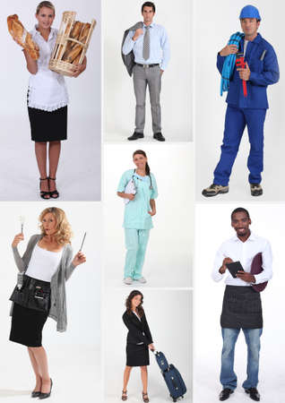 Montage of various professions photo