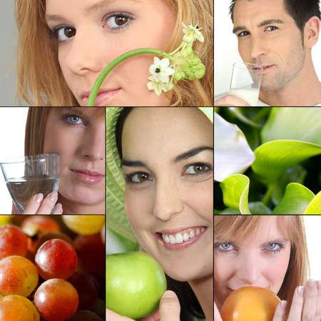 agradecimiento: las personas con frutas o flores