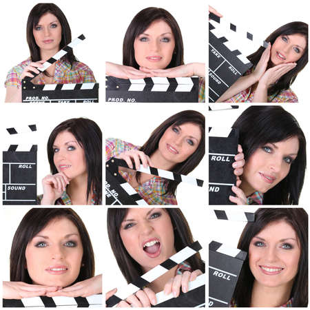 hinged: Collage of a woman with a clapperboard
