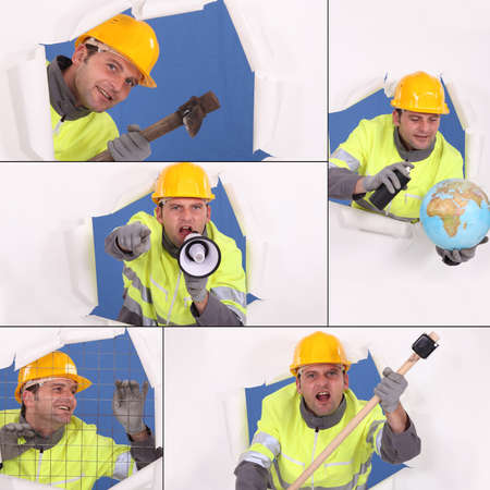 Collage of animated construction worker photo