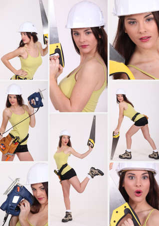 lascivious: attractive woman playing with diy tools