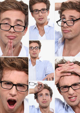 circumspect: many facial expressions of a young employee