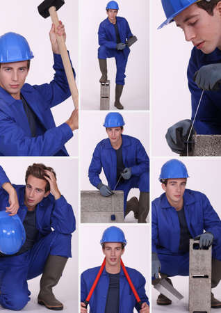 Collage of a construction worker Stock Photo - 14023201