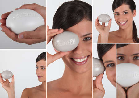 bath cream: Various shots of a woman with soap Stock Photo