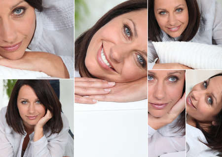soulful eyes: many facial expressions of a brunette woman