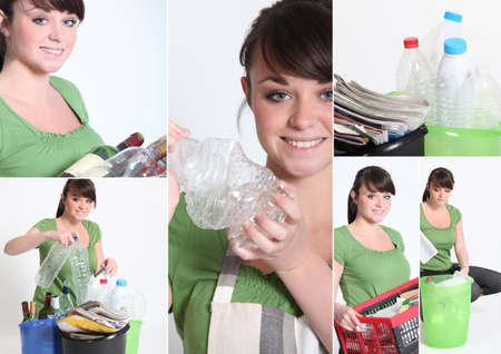 Mosaic of young woman recycling Stock Photo - 14023345