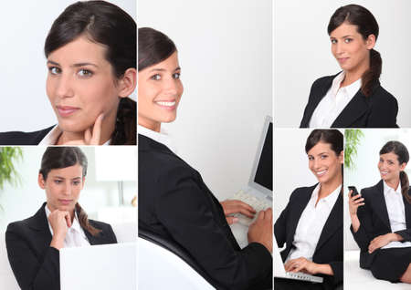 executive affable: young woman dressed in suit Stock Photo