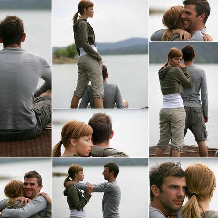 cherishing: romantic scenes near a lake