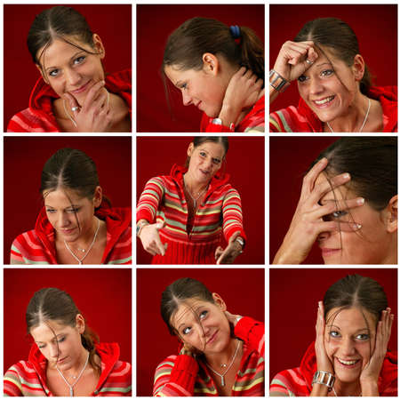 25 to 30: Collage of a young woman making faces