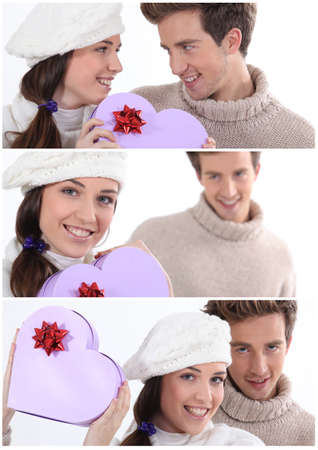 Collage of a couple on Valentines Day photo