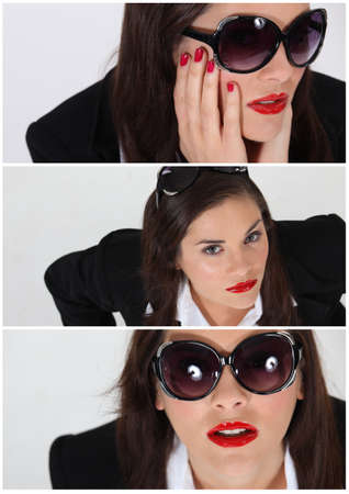 Triple shot of brunette wearing business suit and sunglasses Stock Photo - 14023179