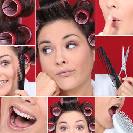 Collage of young woman with hair curlers Stock Photo - 14023207