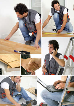 Montage of a worker laying floor photo