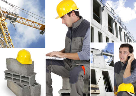photomontage: Photo-montage of a building worker Stock Photo