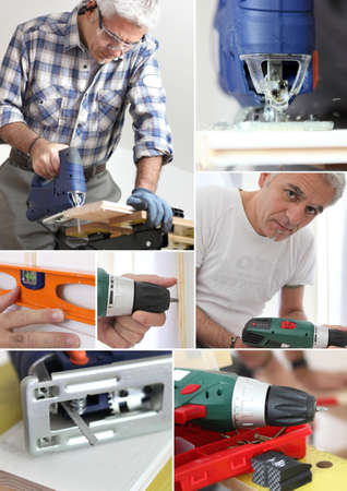 woodworker: Photo-montage of a carpenter Stock Photo