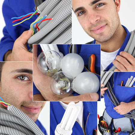 photomontage: Young electrician, photo-montage