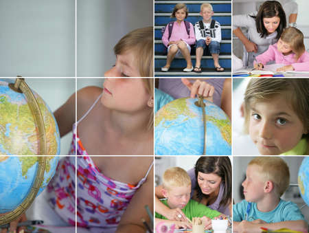 Collage de los ni�os a hacer los deberes Foto de archivo - 14023355
