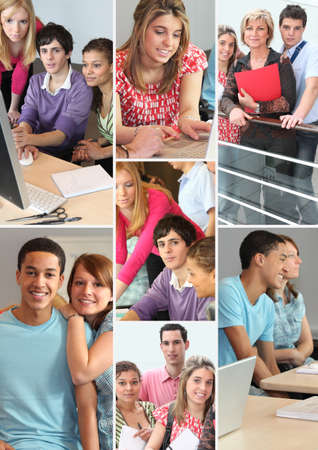 college students campus: montage of students in professional training
