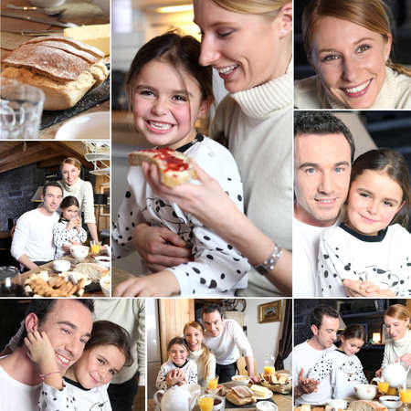 Montage of happy family having breakfast photo