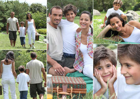 Collage of a family having a picnic Stock Photo - 14023558