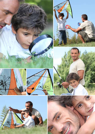 Man and little boy with kite photo