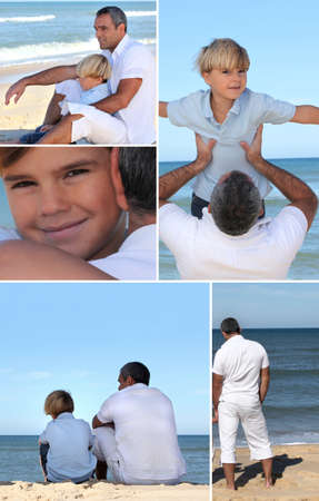 Man and little boy at the beach photo