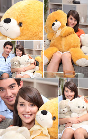 cuddly: Mosaic of couple with cuddly toys Stock Photo