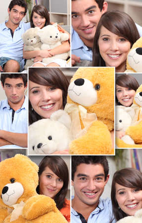 stuffed animals: Montage of couple with cuddly toys Stock Photo
