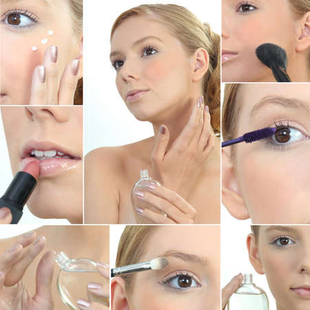 Collage of a woman applying makeup photo