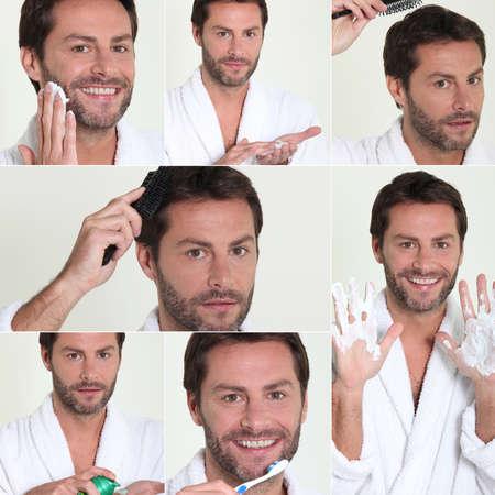male grooming: Montage of male grooming