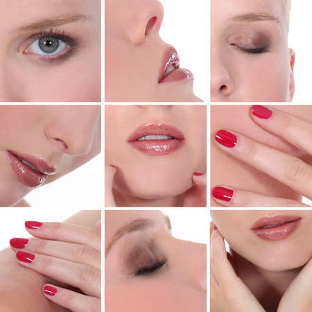 cosmetic lacquer: Mosaic of different make-up Stock Photo