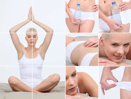 Collage of a woman living a healthy lifestyle photo