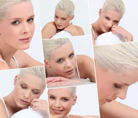 Montage of blond woman wearing underwear in bed Stock Photo - 14023209