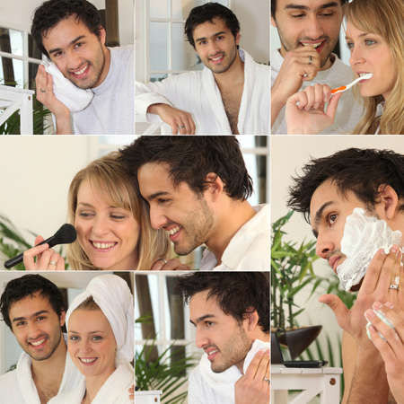 Montage of a couple in the bathroom photo