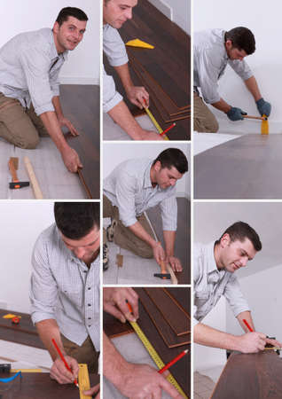Man installing hard-wood flooring photo