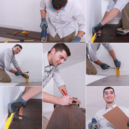 Mosaic of man laying laminate flooring photo