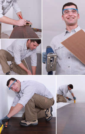 Montage of a man putting down a wooden floor photo