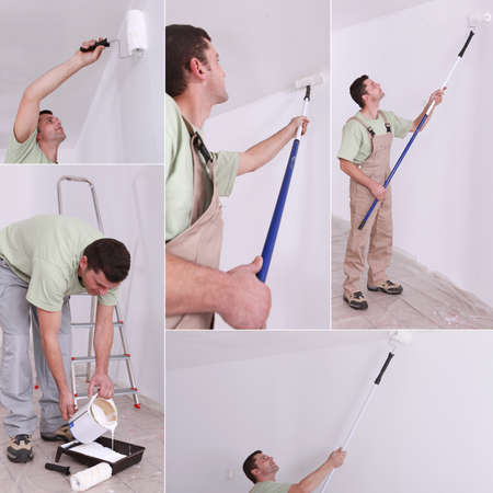Montage of decorator using long roller photo