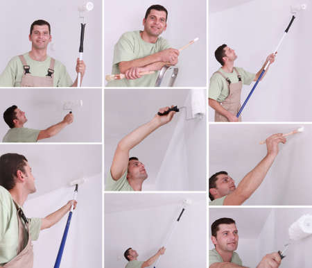 Montage of a man painting a room photo