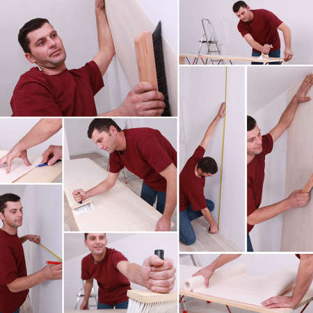 Montage of a man wallpapering photo