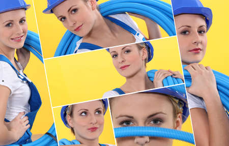 Montage of female plumber photo