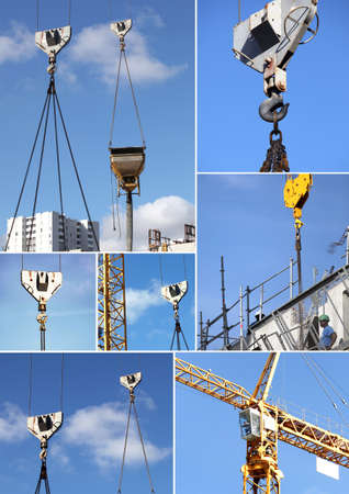 operation light: Montage of construction cranes