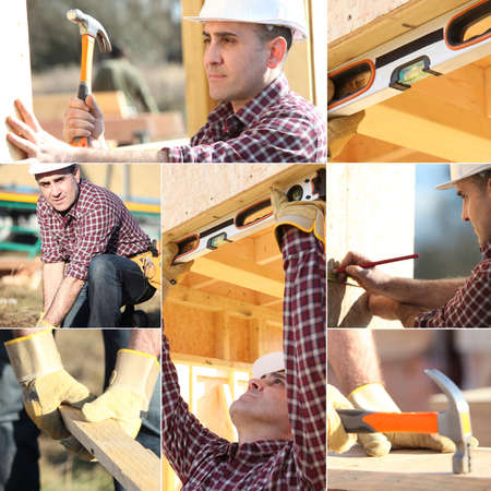 Montage of carpenter working on wooden house photo